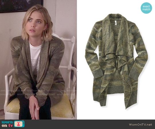 Aeropostale Camo Cardigan worn by Ashley Benson on PLL