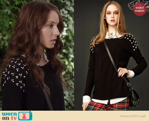 Aeropostale PLL Aria EmbellisheD Sweater worn by Troian Bellisario on PLL