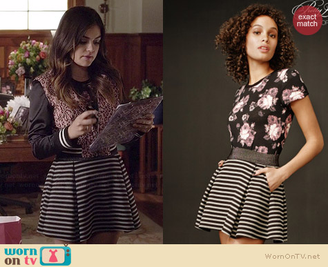 Aeropostale PLL Aria Striped Skirt worn by Lucy Hale on PLL