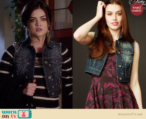 Aeropostale PLL Aria Studded Denim Vest worn by Lucy Hale on PLL