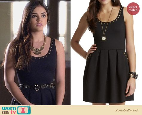 Aeropostale PLL Aria Studded Ponte Dress worn by Lucy Hale on PLL