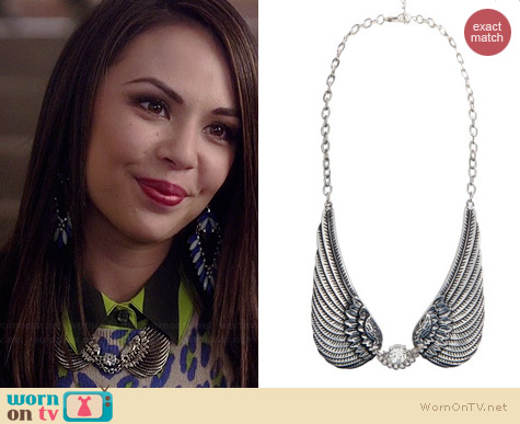 Aeropostale PLL Aria Wing Short-Strand Necklace worn by Janel Parrish on PLL