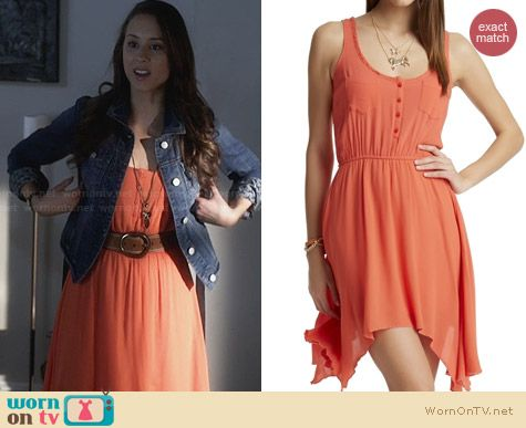 Aeropostale PLL Collection Orange Henley Tank Dress worn by Troian Bellisario