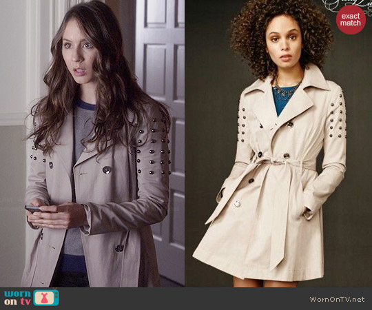 Aeropostale PLL Collection Studded Trench Coat worn by Spencer Hastings (Troian Bellisario) on PLL