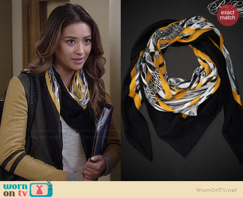 Aeropostale PLL Emily Geo Squares Scarf worn by Shay Mitchell on PLL