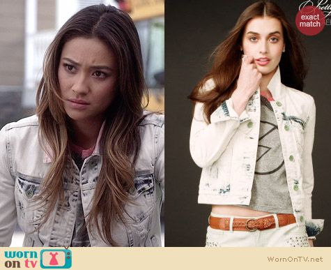 Aeropostale PLL Collection Light Wash Denim Jacket worn by Shay Mitchell on PLL