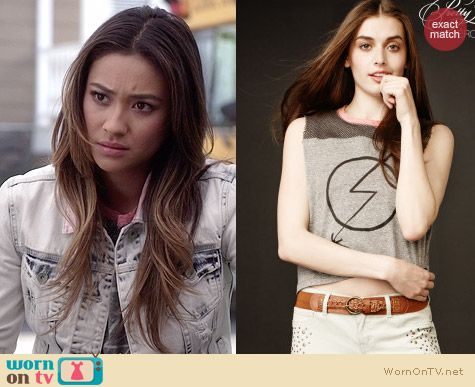 Aeropostale PLL Collection Mesh Yoke Muscle Tee worn by Shay Mitchell on PLL