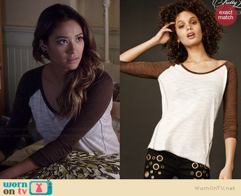 Aeropostale PLL Emily Shredded Raglan Tee worn by Shay Mitchell on PLL