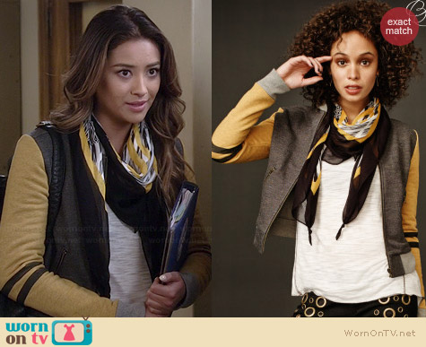 Aeropostale PLL Emily Tiger Bomber Jacket worn by Shay Mitchell on PLL