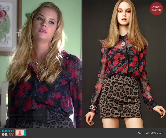 Aeropostale PLL Hanna Floral Shirt and Leopard Skirt worn by Ashley Benson on PLL