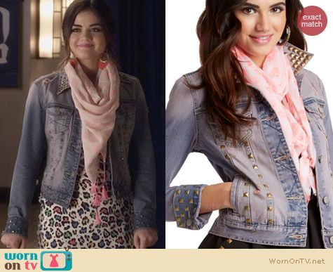 Aeropostale PLL Line Denim Studded Jacket worn by Lucy Hale on PLL