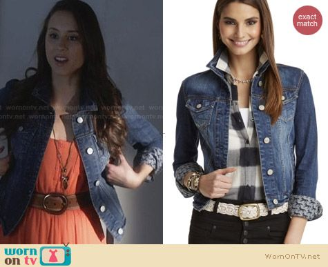 Aeropostale PLL Spencer Horse Print Denim Jacket worn by Troian Bellisario
