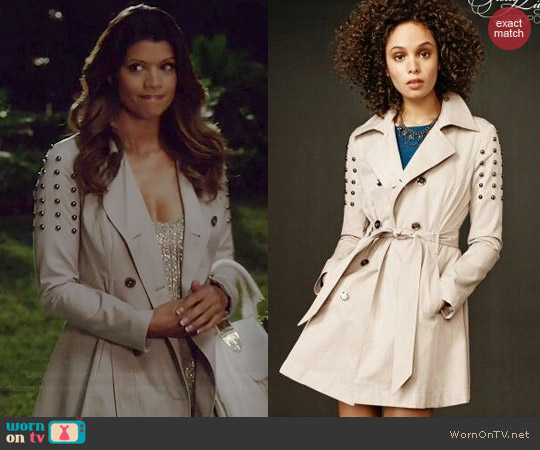 Aeropostale PLL Collection Studded Trench Coat worn by Andrea Navedo on Jane the Virgin