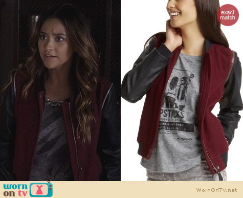 Aeropostale PLL Line Wool Vest Jacket worn by Shay Mitchell on Pretty Little Liars