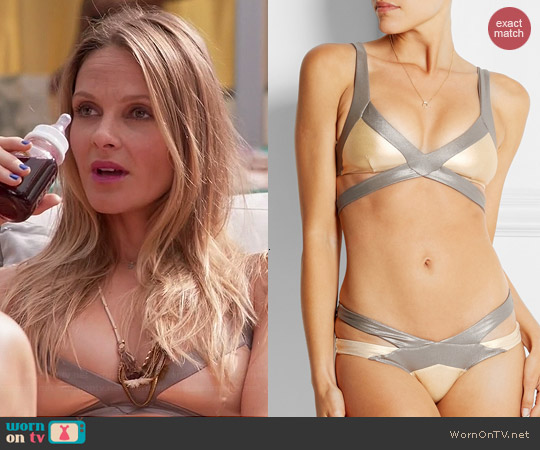 Agent Provocateur Mazzy Metals Triangle Bikini Set worn by Beau Garrett on GG2D