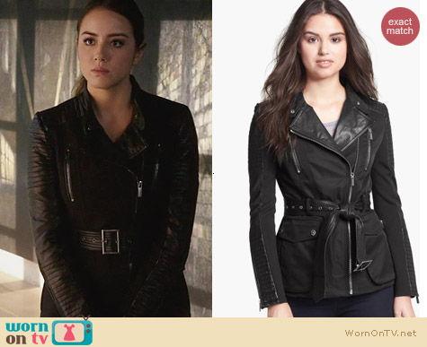 Agents of SHIELD Fashion: BCBGMAXAZRIA Leather Trim Asymmetric Jacket worn by Chloe Bennett
