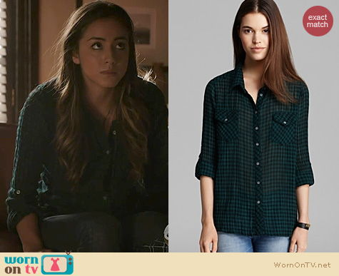 Agents of SHIELD Fashion: C&C California Green Gingham Shirt worn by Chloe Bennett