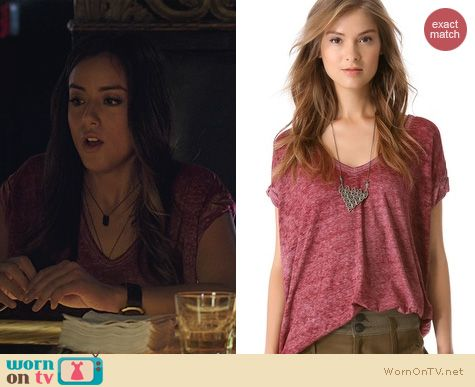 Agents of SHIELD fashion: Free People Keep Me Tee in Cranberry worn by Chloe Bennett