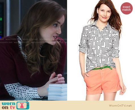 Agents of SHIELD Fashion: GAP New Tailored Print Shirt worn by Elizabeth Henstridge