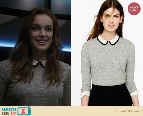 Agents of Shield Fashion: J. Crew Tipped silk collar sweater worn by Elizabeth Henstridge