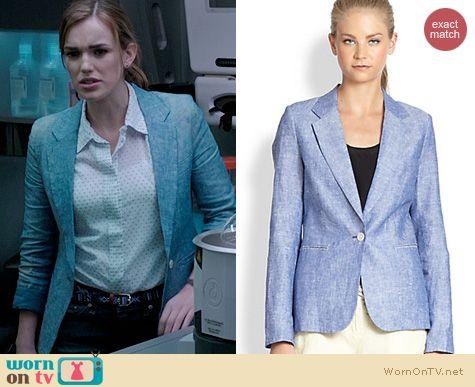 Agents of SHIELD Fashion: Joie Mehira Linen Chambray Blazer worn by Elizabeth Henstridge