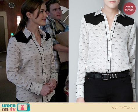 Agents of Shield Fashion: Zara Horse print blouse worn by Elizabeth Henstridge