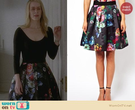 AHS Coven Fashion: Ted Baker Floral Skirt worn by Sarah Paulson