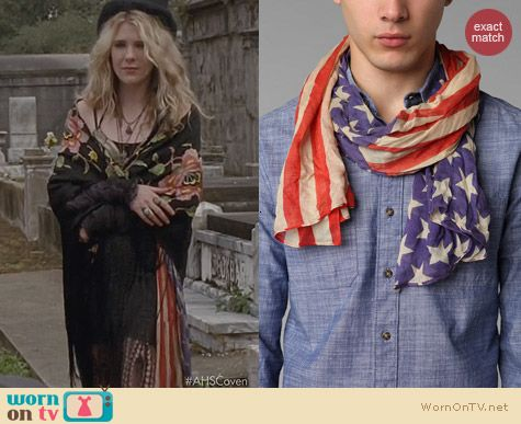 AHS Coven Fashion: Urban Outfitters Lightweight Stars Stripes Scarf worn by Lily Rabe