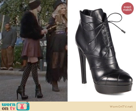 AHS Coven Fashion: Prada Leather Lace Up Platform Ankle Boots worn by Emma Roberts