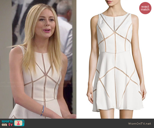Aidan Mattox Mesh Inset Cocktail Dress worn by Justine Lupe on Cristela