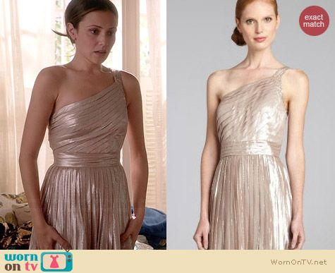 Aidan Mattox Pleated Beaded One-Shoulder Gown worn by Italia Ricci on Chasing Life
