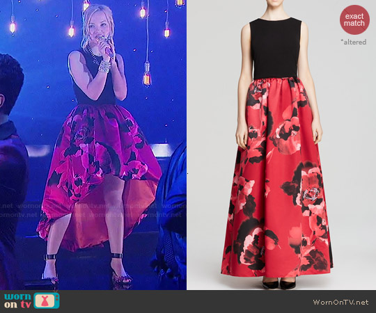 Aidan Mattox Sleeveless Floral Print Gown worn by Dove Cameron on Liv & Maddie