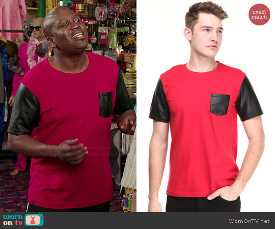 Akademiks Cooper Faux Leather Sleeve Tee worn by Tituss Burgess on Unbreakable Kimmy Schmidt
