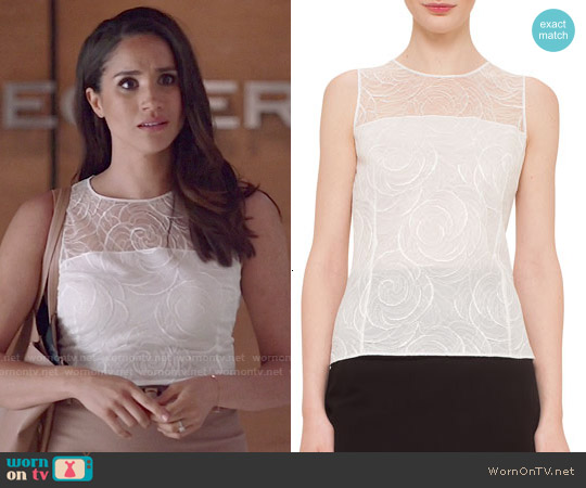Akris Floral Lace Sleeveless Blouse worn by Meghan Markle on Suits