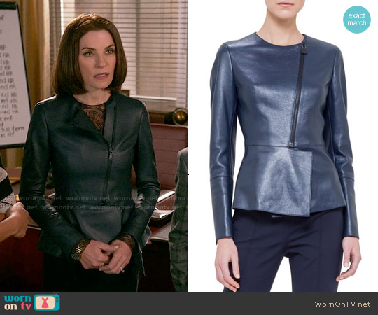 Akris Asymmetric Peplum Leather Jacket worn by Julianna Margulies on The Good Wife