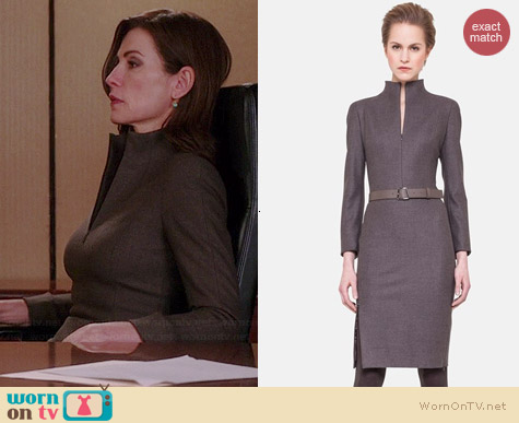 Akris Belted Stretch Flannel Dress worn by Julianna Margulies on The Good Wife