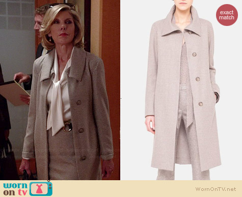 Akris Oldbury Flannel Houndstooth Coat worn by Christine Baranski on The Good Wife