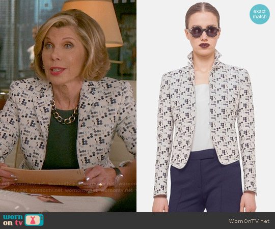 Akris Punto Mini Dot Jacquard Jacket worn by Christine Baranski on The Good Wife