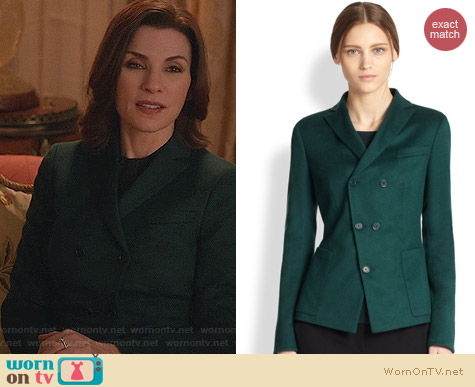Akris Punto Asymmetrical Button Front Blazer worn by Julianna Margulies on The Good Wife