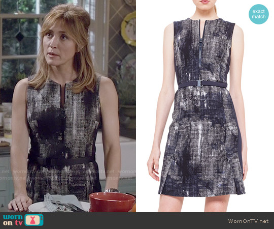 Akris Punto Jewel-Neck Pixel-Print Dress worn by Sasha Alexander on Rizzoli & Isles