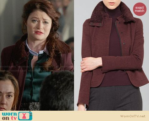 Akris Punto Wool Jersey Jacket with Fur Collar in Wine worn by Emilie DeRavin on OUAT