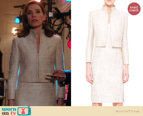 Akris Shimmery Jacquard Short Jacket and Dress worn by Julianna Margulies on The Good Wife