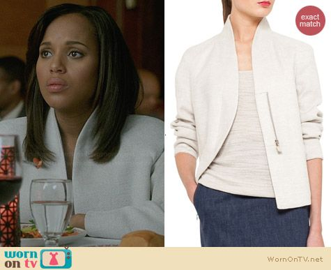 Akris Structured Linen Blend Jacket worn by Kerry Washington on Scandal