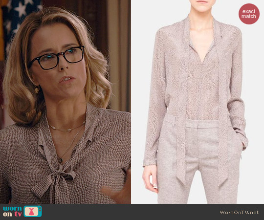 Akris Tie Neck Silk Crepe Blouse worn by Tea Leoni on Madam Secretary