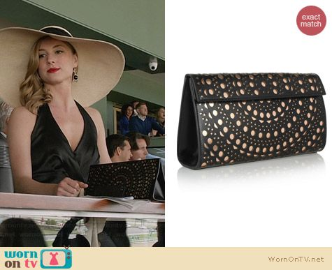 Alaia Lasercut Leather Clutch worn by Emily VanCamp on Revenge