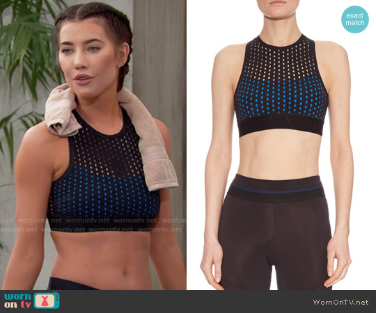 Alala Crossover Back Perforated Sports Bra worn by Jacqueline MacInnes Wood on The Bold & the Beautiful