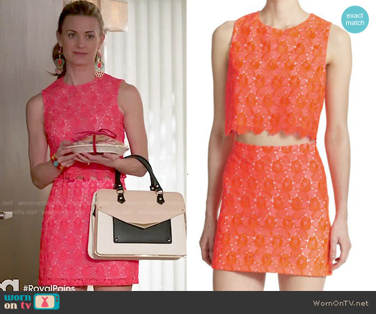 ALC Adriana Lace Crop Top and Merrill Lace Skirt worn by Brooke D'Orsay on Royal Pains