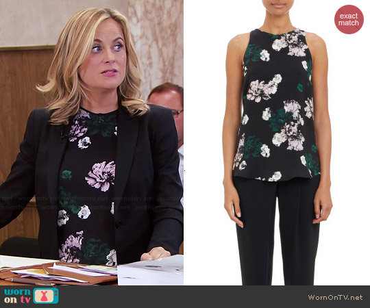 ALC Anise Floral Top worn by Amy Poehler on Parks & Rec