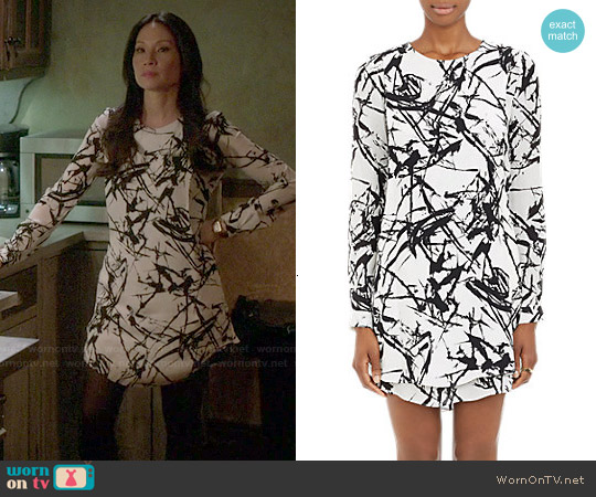 ALC Brushstroke Print Layered Dress worn by Lucy Liu on Elementary