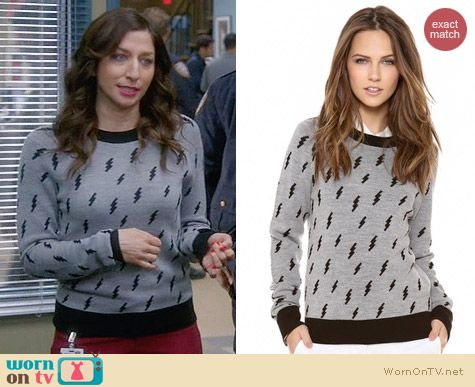 ALC Castillo Lightning Bolt Sweater worn by Chelsea Peretti on Brooklyn99